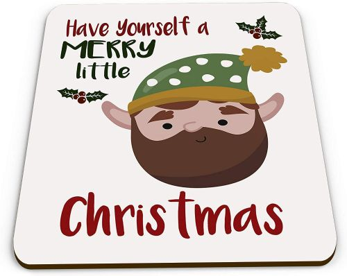 Merry Little Christmas Beard Elf Novelty Glossy Mug Coaster